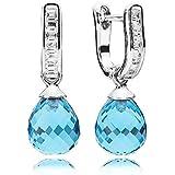 Pandora Damen-Ohrhänger 925 Silber Kristall blau - 290588NBS