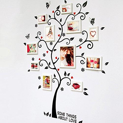 Wandtattoo Schwarzer Foto-Baum Schmetterlinge Home Sticker Papier Abnehmbares Wohnen Esszimmer Schlafzimmer Küche Kunst Bild Murals DIY Stick Mädchen Jungen Kinder (ohne Bilderrahmen) (Bild Stick)