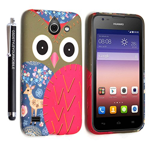 GSD STYLE YOUR MOBILE {TM} HUAWEI ASCEND Y550 RUBBER SILICONE SILIKON GEL CASE SKIN TPU TASCHE Hülle COVER + STYLUS (Owl Face Deer)
