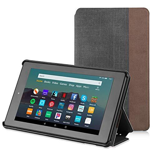 Apiker Hülle für Amazon Fire 7 Tablet (nur für die 9. Generation 2019), Schutzhülle aus Premium-PU-Leder, mit Auto Sleep Wake-Funktion für Fire 7 2019, Schwarz