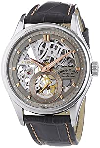 Armand Nicolet Men's Mechanical Watch with Grey Dial Analogue Display and Grey Leather Strap 9620S-GL-P713GR2