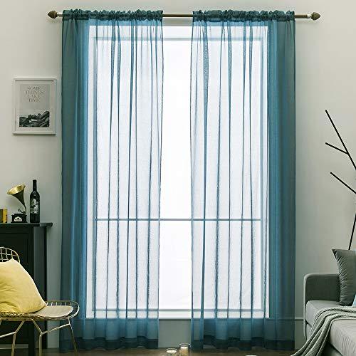 Miulee tende 2 pannelli trasparenti in voile con passanti morbidi finestre per camera da letto e soggiorno 140x260cm blu acciaio