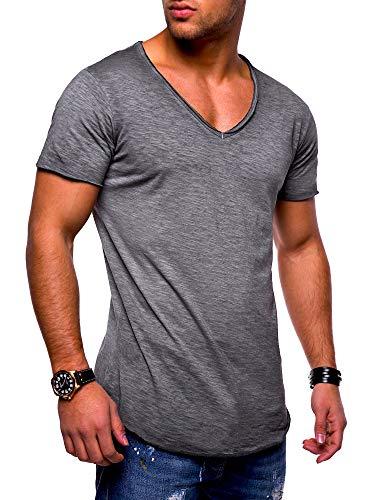 behype. Herren Kurzarm Basic T-Shirt V-Neck Ausschnitt Oversize-Look 20-0002 Dunkelgrau XL