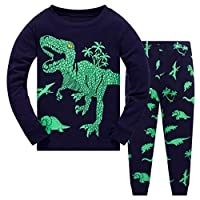 HupoopBaby Boy Kids Cartoon Dinosaur T Shirt Tops+ Pants Pajamas Sleepwear Outfits Set(Navy,1-7Y)