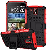 AA19 Hybrid Case for HTC Desire 526 , Rugged Dual Layer TPU + PC Kickstand Hybrid Case Back Cover for HTC Desire 526 - Hot Red