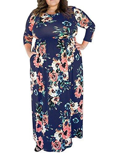 Größe Plus Blau Maxi-kleid (Kinikiss Damen 3/4 Ärmel Blumendruck Maxi Party Kleider Plus Größe mit Taschen (Armeegrün, EU 46-48/Asien XL))