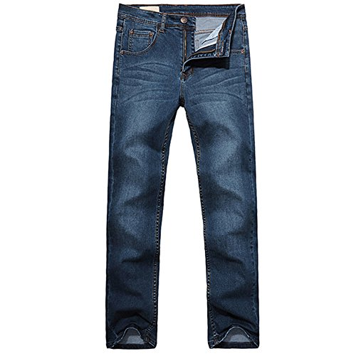 OCHENTA Herren lange Jeanshose Freizeithose Straight Leg Loose-Fit Elastisch Mittelblau