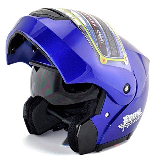 Blau Motorrad Full Face Klapphelm Doppelschild Sonnenblende Anti-Fog-Free Size