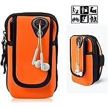 fulozo Outdoor Sport Brazalete Funda multifuncional brazo doble pulsera de encuadernación, Running para iPhone X/8/8Plus/7/7Plus/6/6Plus/6S/5/5s/SE, Galaxy S8/S7/S7Edge/S6/S5/J7/J5/A7y todos los No más grande 6pulgadas Dispositivo. Android brazalete deportivo Teléfono Móvil Universal Para Correr, Entrenamiento, jinete y fitness, naranja