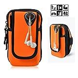 FULOZO Outdoor Sport Armband Handytasche Multifunktionale Doppel Armtasche Armbinde ,Running Armband für iPhone X/8/8 Plus/7/7 Plus/6/6 Plus/6S/5/5S/SE,Galaxy S8/S7/S7 Edge/S6/S5/J7/J5/A7 und alle nicht größer als 6 Zoll gerät. Android Sportarmband Handyhülle universell passend für Laufen, Workout, Reiten und Fitness(Orange)