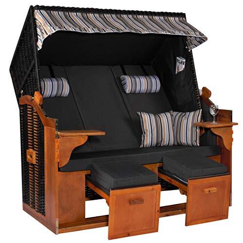 Möbelcreative Strandkorb Ostsee ROYAL XXL Volllieger - Extra Breit - 150 cm in anthrazit Oliv blau inklusive Schutzhülle, ideal für Garten und Terrasse