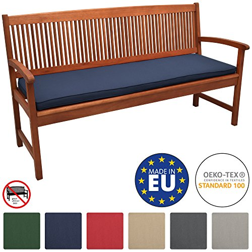 Beautissu Loft BK Bankauflage Auflage für Gartenbank Sitzkissen 150x48x5cm Dunkelblau Polsterauflage mit Oeko-Tex weitere Farben & Größen