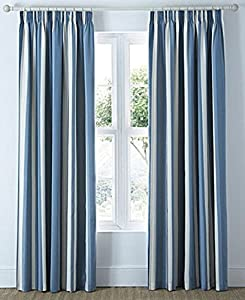 "Mali Striped Blue Beige Cotton Blend Lined 46"" X 90"" - 117cm X 229cm Pencil Pleat Curtains by Curtains"