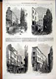 Old Original Antique Victorian Print Newcastle Court 1866 Ship-Yard Clements Lane Houses 12Mar1