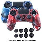 Silicone Peau Housses Coque pour PS4 Contrôleur, Anti-Dérapant pour Sony PS4/Slim/Pro Le Manette,2×ps4 Silicone Coque(Camouflage Bleu &Camouflage Rouge) avec 8×Thumb Grip Poignée Pouce