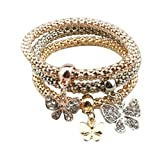 Hosaire Fashion Bracelet Crystal Charm Butterfly Pendant Chain For Womens Girls Party Jewellery Pack of 3