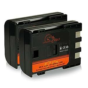 Bundle - 2x Power Batterie NB-2L / BP-2L5 pour Canon PowerShot S30 | S40 | S45 | S50 | S60 | S70 | S80 | G7 | G9 | EOS 350D | EOS 400D - Camcorder MV800 | MV830 | MV830i | MV850i et bien plus encore... Legria HF R16 | HF R17 | HF R18 | HF R106