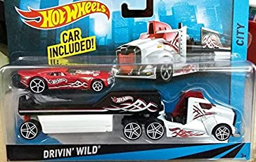 Hot Wheels City Rig - Drivin' Wild Semi and Trailer with Nitro Coupe - White Truck, Red Car - 1:64 Scale Vehicle