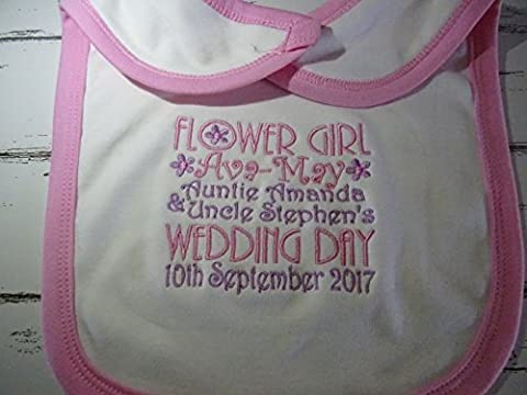 Personalised Embroidered Baby Toddler Bib - Velcro Fastening - FLOWER GIRL WEDDING DAY *ADD NAME* *ADD DATE *ADD BRIDE & GROOM NAMES* - Any Colours If Required Newborn Baby Toddler Girls UNIQUE GIFT KEEPSAKE WEDDING