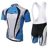 SKYSPER - [un Set Moda Maglia Ciclismo Jerseys per Uomo: Maniche Corte Tuta Estiva + Pantaloni Corti da Ciclismo Abbigliamento Ciclismo Sportivo Professionale Traspirante Comodo