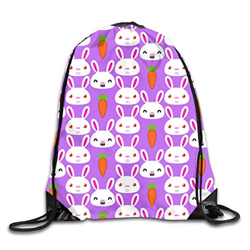 show best Bunny Rabbits Drawstring Gym Bag for Women and Men Polyester Gym Sack String Backpack for Sport Workout, School, Travel, Books 14.17 X 16.9 inch