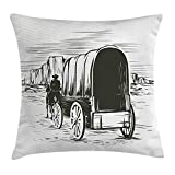 KLYDH Western Throw Pillow Cushion Cover, Old Traditional Wagon Wild West Prairies Pioneer on Horse Transportation Cart, Decorative Square Accent Pillow Case, 18 X 18 Inches, Dark Green Beige