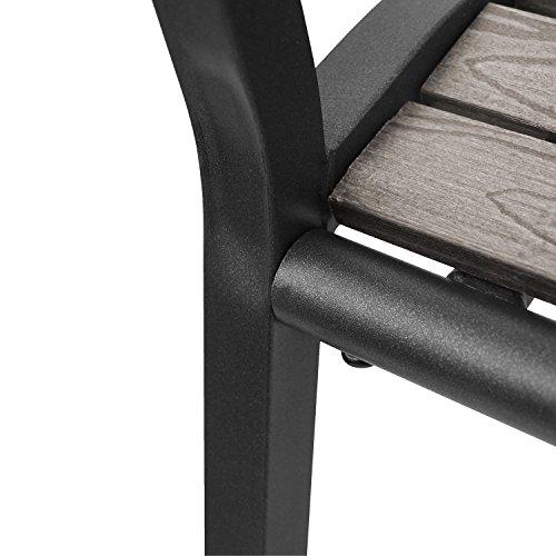 2tlg. Sitzbank-Set Gartenbank wetterfest Metall Schwarz / Polywood Grau + Auflage 120x48x6cm Anthrazit strukturiert - 6