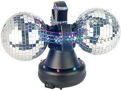 Lunartec Dicokugel: Farbwechsel-Discokugel Double m. 32 LEDs, Motor (LED Disco Kugel)