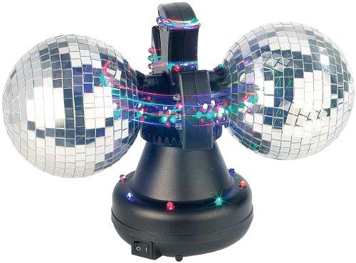 Lunartec Discokugeln: Farbwechsel-Discokugel Double m. 32 LEDs, Motor (Spiegelkugel)