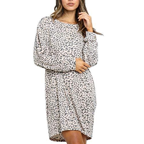 Damen Kleider Sommer Herbst O Ausschnitt Lange Ärmel Sexy Strandkleid Jeanskleid Stretch Großer Größe Boho Kleid Polyester Leopard Bedruckt Partykleid Polyester Minikleid (EU:38, Grau) -