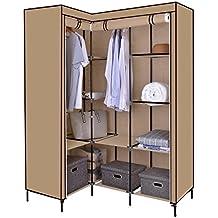 Canvas Wardrobe, Funime Corner Wardrobe L Shaped Canvas Wardrobe Clothes Cupboard Hanging Rail Storage Shelves 124x169cm (White)