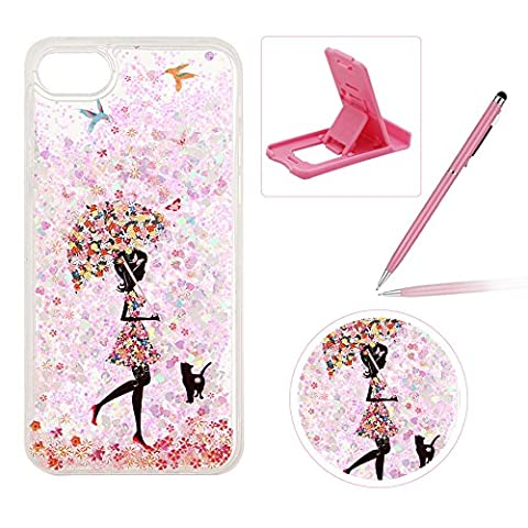 Coque iPhone 6S Plus, Etui pour iPhone 6 Plus, Herzzer Transparent Cristal Gliter Sparkle Coque 3D Flottant Liquide Sables Housse Etui Colorées Fleurs Chat Oiseau Talon Haut Fille Coeur Motif Bling Paillettes Souple TPU Case Cover Ultra Mince Telephone Portable Housse Cas Prime Flex Silicone Skin Protection Shell Couverture Anti Scratch Shock Absorption pour Apple iPhone 6 Plus / iPhone 6S Plus (5.5 pouces) + 1 x Téléphone Portable Béquille + 1 x Stylet - Umbrella Girl Rose