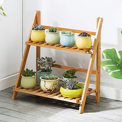 LLYU Jardin étagère support de fleurs bambou 2 couche échelle pliante bois balcon salon (taille : 50cm)