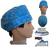 Mütze von Chirofano. Blaues Wasser für kurze haare Chirurgie, Krankenpflege, Veterinär, Zahnärzte, Kochen und Profis. Handtuch vorne, verstellbarer Rücken mit Druckknopfspanner und Gummi.