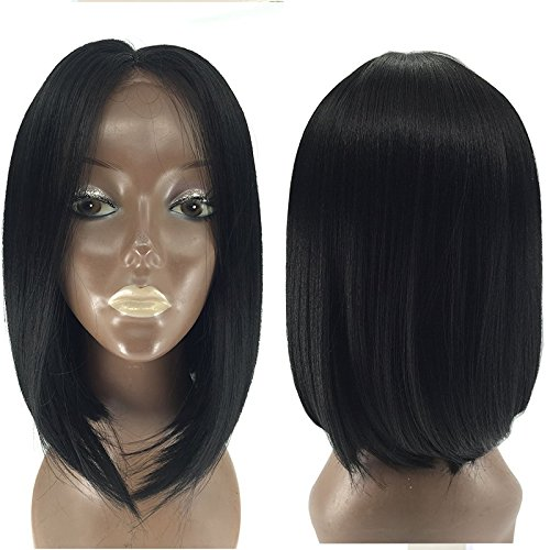 PlatinumHair Black Short Bob Straight Wigs Synthetic Lace Front Wigs Heat Resistant Synthetic Wigs 12-16\\