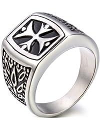 JewelryWe joyería año cruz de acero inoxidable Anillo de promesa para hombre decoración anillos de compromiso