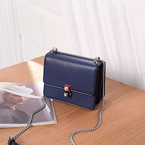 Handtaschen Mode Kette Kleine Quadratische Paket Einfache Tasche Handtasche Schulter Messenger Bag Navy Blau