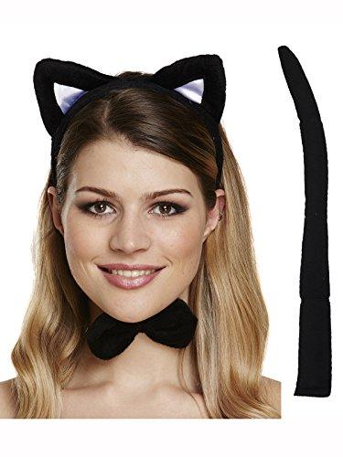 Black Cat Set Ears, Tail & Bow TIe Fancy Dress Halloween Party (Kostüme Katze Dragon)