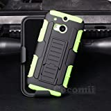 HTC One M8 Funda, Cocomii Robot Armor NEW [Heavy Duty] Premium Belt Clip Holster Kickstand Shockproof Hard Bumper Shell [Military Defender] Full Body Dual Layer Rugged Cover Case Carcasa (Green)