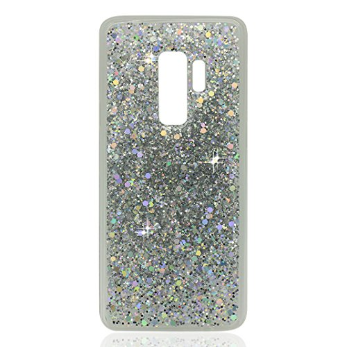 Galaxy S9 Plus S9+ Hülle, Bling Glitzer Galaxy S9 Plus, Asnlove Glitzer Slim Silikon-Case Back-Cover Schutzhülle, Glitter Sparkle Handy-Tasche Bumper, Dünnes Bling Strass Phone Etui für Samsung Galaxy S9 Plus 6,2 Zoll Case Cover - Silber