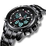 2becd2604bea Relojes Digitales Analógicos para Hombres Reloj Cronógrafo Impermeable  Deportivo Hombre Relojes de Pulsera Multifuncionales Acero Inoxidable ...