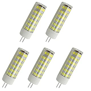Aoxdi 5X G4 7W SMD LED, Cool White, G4 LED Light Lamps, AC/DC 12V, 75 SMD 2835 LED Equivalent Incandescent Bulb Replacement LED Bulbs