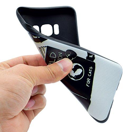 Coque Galaxy S8, Étui Galaxy S8, ISAKEN Coque Samsung Galaxy S8 - Étui Housse Téléphone Étui TPU Silicone Souple Coque Ultra Mince Gel Doux Housse Motif Arrière Case Antichoc Doux Durable Résistant Au Livre de chat