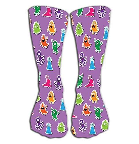 Xunulyn Hohe Socken Outdoor Sports Men Women High Socks Stocking Cute Abstract Pattern Cartoon Monsters Nature Tile Length 19.7