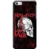 Grunge Cult Fun Tête de mort Art Hipster Musique téléphone Housse/Coque rigide pour Apple téléphone portable, plastique, Non Stop Music Headphone Skull, Apple iPhone 5c