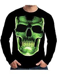 Velocitee Mens Long Sleeve T Shirt Glow Bones Skull A10286