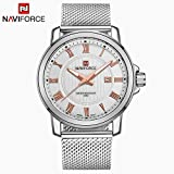 Casual Business Steel Mesh Strap Wrist Watch (Silver Gold)