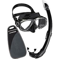 Cressi Perla Mare Noir, PREMIUM Masque et Tuba Adulte Plongée Snorkeling, Kits de Randonnée Aquatique