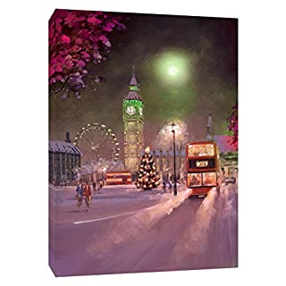 LONDON NIGHT COVERED BY SNOW PHOTO PRINT ON FRAMED CANVAS WALL ART VE 30 x 20 inch -18mm depth