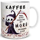 Triosk Mok Koffiemok met spreuk, grappig koffieliefje, leuk horrorgeschenk voor werk, kantoor, mannen, vrouwen, vriendin, collega, verjaardag, beige